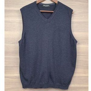 Brandini Marino Wool Navy Blue Sweater Vest Sz L